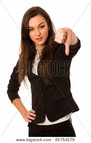 Angry Business Woman Showing Thumb Down Isolated Over White Background