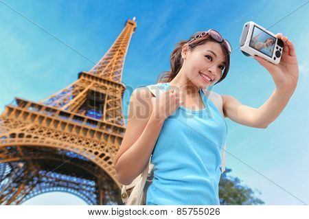 Happy Travel Woman In Paris