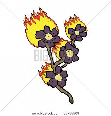 cartoon burning flowers