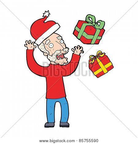 cartoon man stressing about christmas