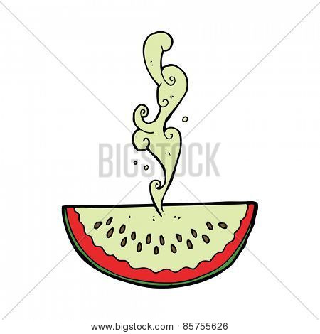 cartoon juicy squirting watermelon