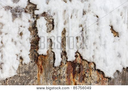 Abstract Background Of Stone Wall Covered With Rust And Ice Winter Day