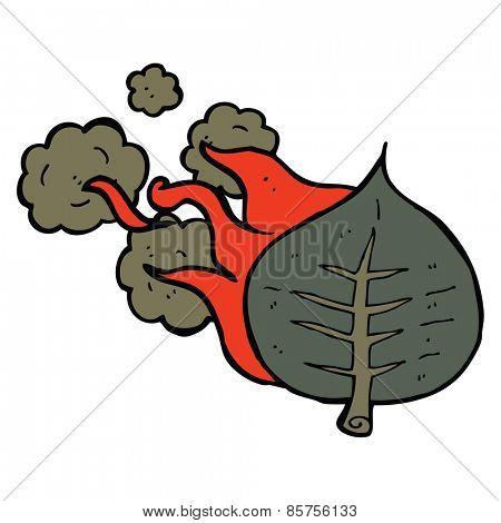 cartoon burning leaf