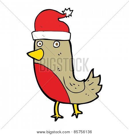 cartoon christmas robin