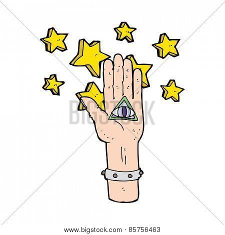 cartoon mystic eye hand symbol