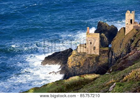 Historic cliff mine engine houses at Bottallack, Cornwall, England.  World Heritage mining area.