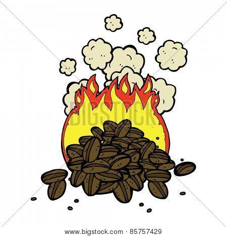 roasting coffee beans cartoon
