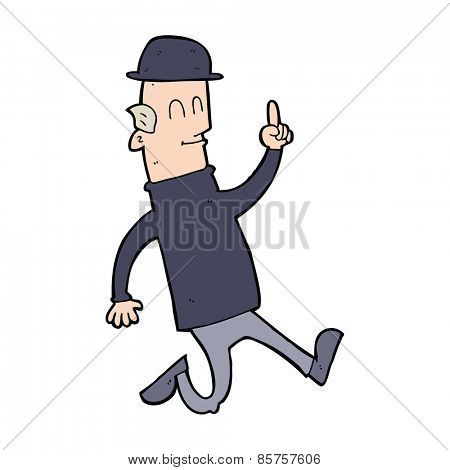 cartoon man wearing british bowler hat