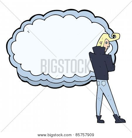 cartoon rocker standing in front of cloud with space for text