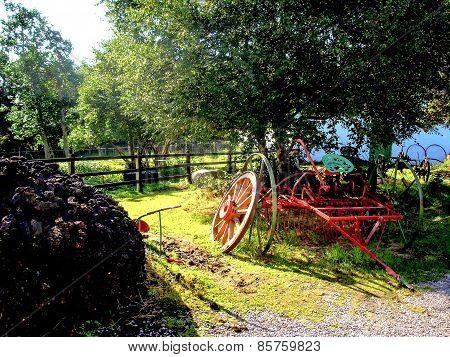 Antique Hay Rake on Irish Farm