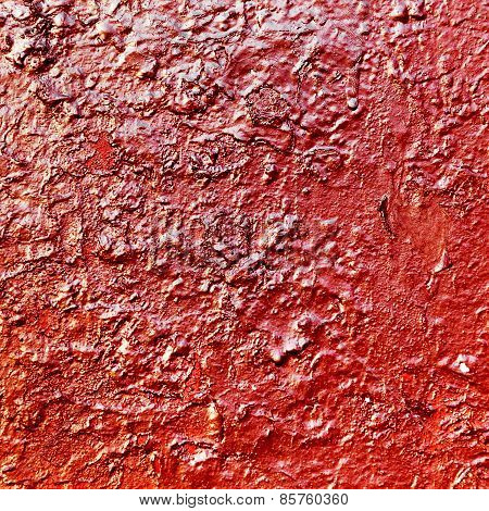 Creative Background Beautiful Concrete Carelessly Painted With Red Paint Streaks And Specks, Cracks