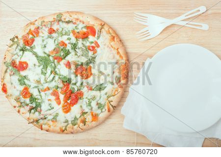 Fresh Baked Arugula Pizza On Wooden Background