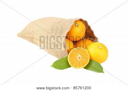Ripe Oranges Lie In A Straw Bag