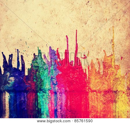 image from color and texture background series (melted coloring crayons) good for back to school theme or teaching school children primary colors toned with a retro vintage instagram filter app