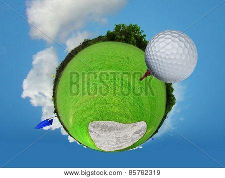 Abstract Golf Ball On Tee
