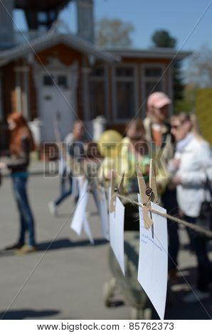 Irkutsk, RU-May,10 2014 Outside exhibition of nonprofessional photographers in Irkutsk, Russia