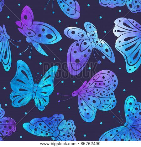 Watercolor Vintage butterfly seamless pattern