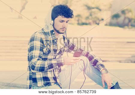 Young Boy Listening Music Instagram Style