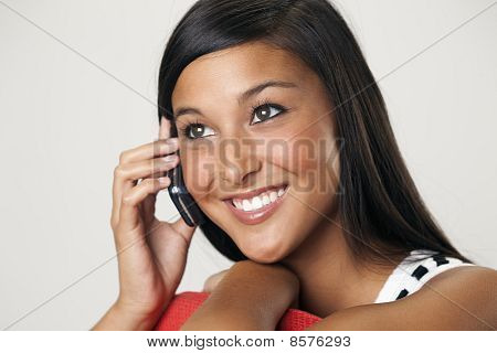 Beautiful Young Woman on a Cellphone