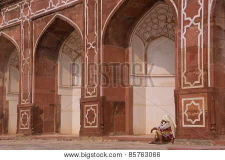 Indian Woman Sitting Outside Humayun's Tomb, Delhi, India