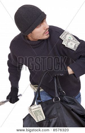 Bank Robber Running With Money