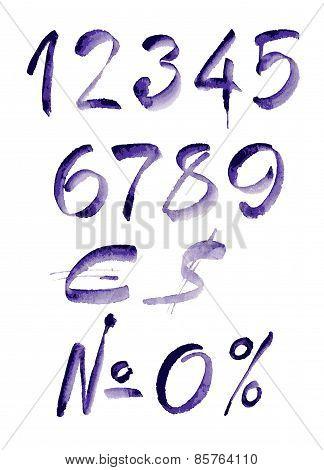 Watercolor hand written purple numbers. Vector illustration