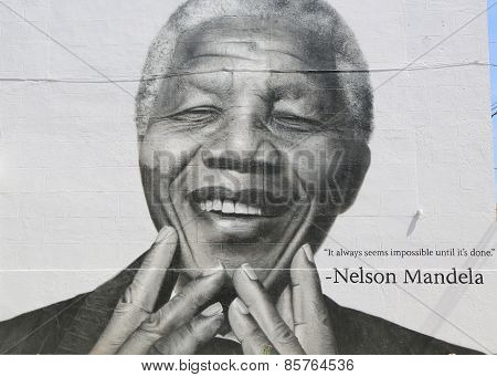 Nelson Mandela mural in Williamsburg section in Brooklyn