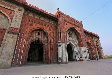 Facade Of Qila-i-kuna Mosque, Purana Qila, New Delhi, India
