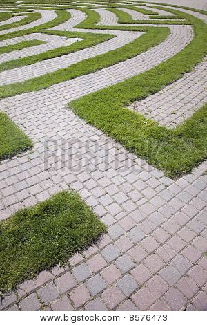 Entrance to a Cobblestone and Grass Maze