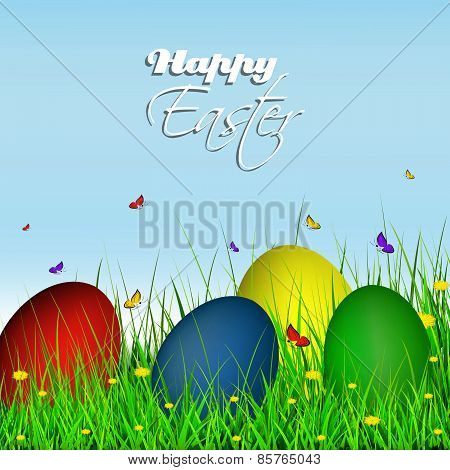 Happy easter greeting card, easter eggs on grass with dandelion