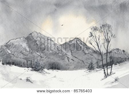 Mountains landscape in winter dawn watercolour illustration