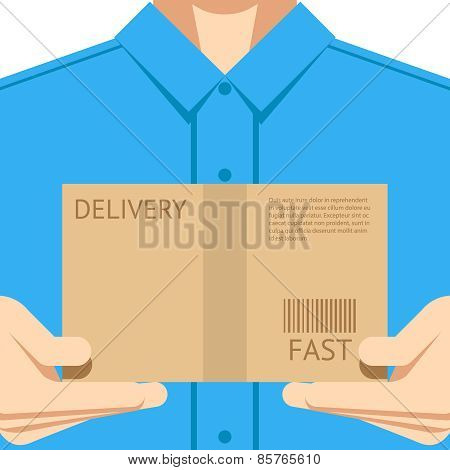 Delivery courier postal man delivering package flat design background concept vector illustration