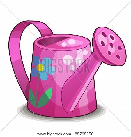 Detailed Icon. Pink watering can isolated on white background