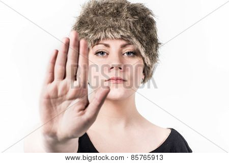 Woman Signals Stop With The Hand In Front Of Her