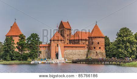Trakai Red Brick Castle And Footbridge