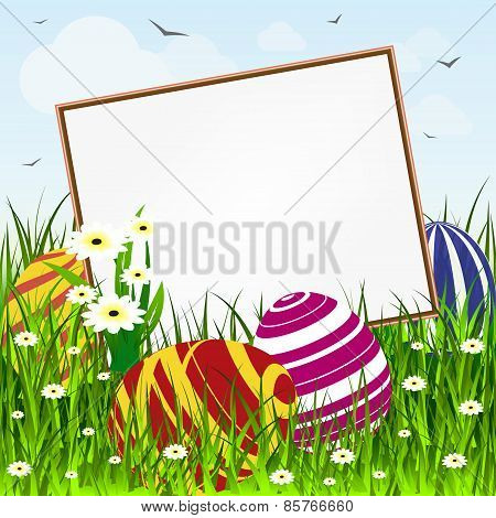 Easter card floral illustration with empty banner and eggs