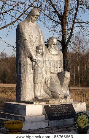 Memorial to fallen warriors in Steshino village, Smolenk area, Russia.