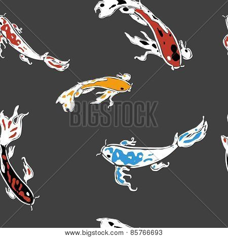 Koi carps on dark background seamless pattern