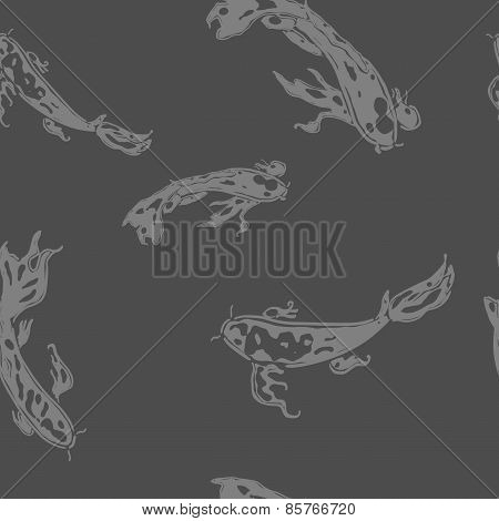 Monochrome seamless pattern with koi carp