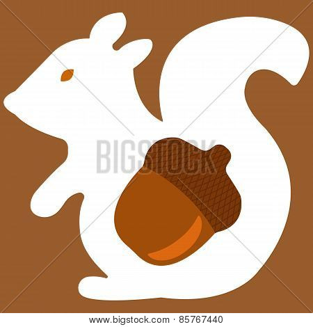 Vector illustration of aquirrel on brown background