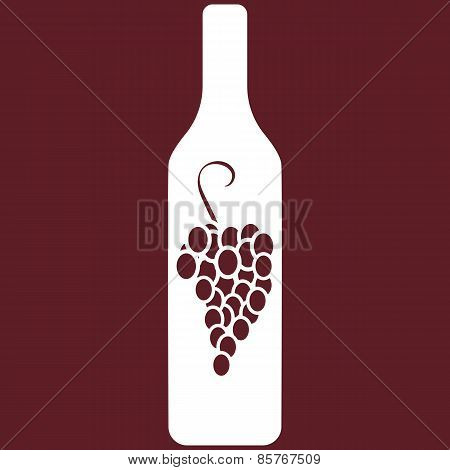 Vector illustration of wine bottle on burgundy background