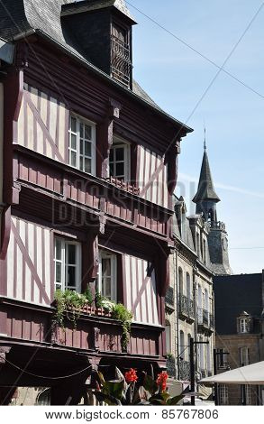 Medieval Buildings And Clock Tower In Dinan
