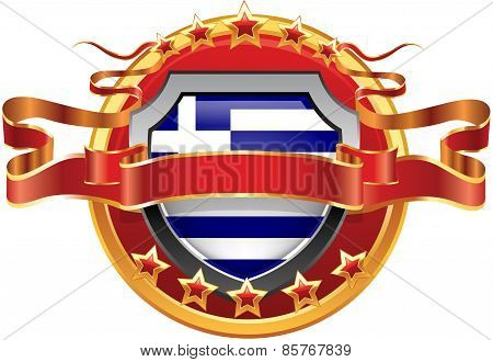Shield with tape and with the stars and the flag of the Greece