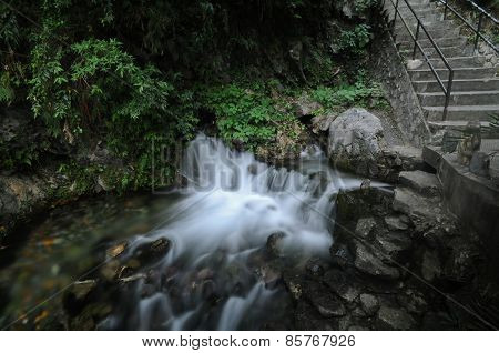 Small Flowing Waterfall In Taiwan