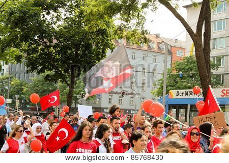 Pro Erdogan Demonstration In Munich, Germany