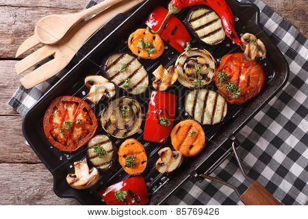 Grilled Vegetables Closeup In A Pan Grill. Horizontal Top View