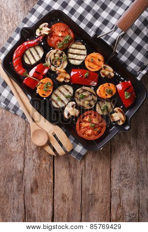 Grilled Vegetables In A Pan Grill. Vertical Top View
