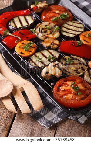 Vegetables: Peppers, Tomato, Onion,  In Pan Grill. Vertical