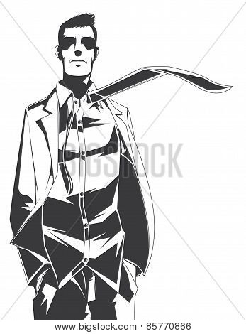 Vector Silhouette Of Gentleman With A Tie