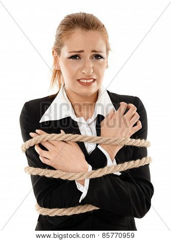Businesswoman Tied With A Rope